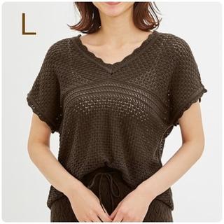 GU - 新品・未使用!!【L】GU/透かし編みVネックセーター(半袖)Q/ブラウン