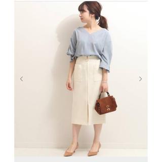 ノーブル(Noble)の【新品未使用】Nobleダブルクロスフープジップタイトスカート(ひざ丈スカート)