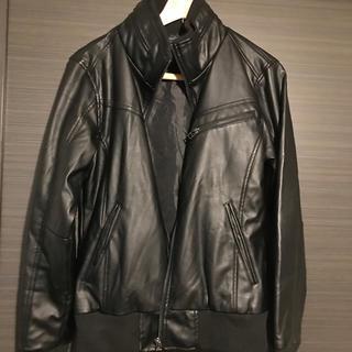 革ジャン 合成皮革 黒に近いこげ茶色(レザージャケット)
