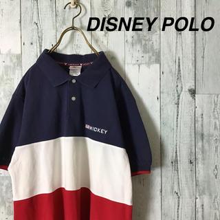 ディズニー(Disney)の希少 DISNEY POLO マルチカラー 太ボーダー オーバーサイズ 鹿の子(ポロシャツ)