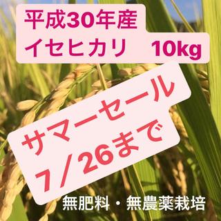 サマーセール/平成30年度産 無肥料無農薬栽培  イセヒカリ 玄米10kg