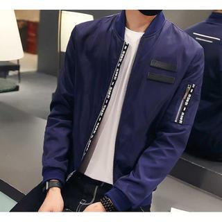 デザイン◎ メンズ ブルゾン ジャケット ネイビー【M】(ブルゾン)