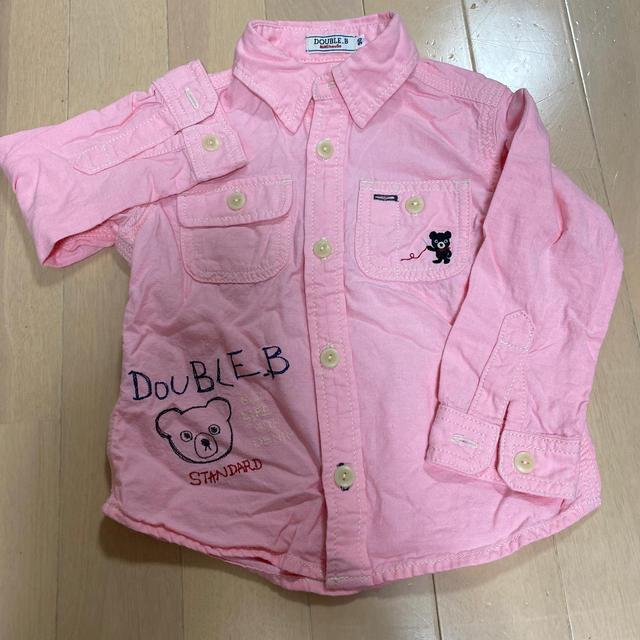 DOUBLE.B(ダブルビー)のダブルビー 長袖シャツ/ピンク キッズ/ベビー/マタニティのキッズ服女の子用(90cm~)(ブラウス)の商品写真