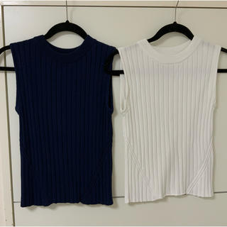 エムプルミエ(M-premier)のM premierノースリーブカットソー2枚組白ネイビー38mプルミエ(カットソー(半袖/袖なし))