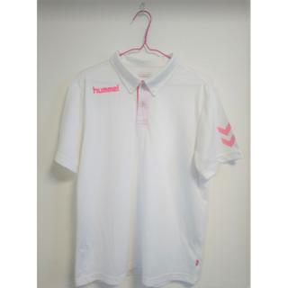ヒュンメル(hummel)のhummel♡white×pinkスポーツウェアポロシャツ Oサイズ(Tシャツ/カットソー(半袖/袖なし))