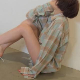 Ungrid - 22日まで出品 アングリッド Ungrid ワイドルーズチェックシャツ