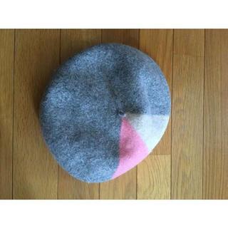 ベレー帽 3色 グレー×ピンク×ホワイト(ハンチング/ベレー帽)