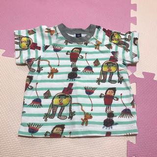 マーキーズ(MARKEY'S)のMARKEY'S 落書き風 Tシャツ 80 ボーダー グリーン 綿 マーキーズ(Tシャツ)