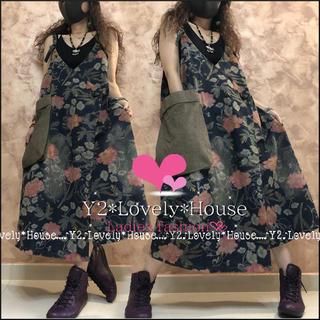 【~3L(4L)相当】デカポケット花柄ウォッシュ加工巻スカ風ジャンパースカート