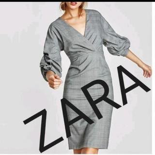 ザラ(ZARA)の美品♪ZARA★袖くしゅグレンチェック ワンピース(ロングワンピース/マキシワンピース)