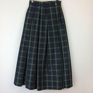 Drawer - ドゥロワー Drawer スカート チェック グリーン ロング ラップ