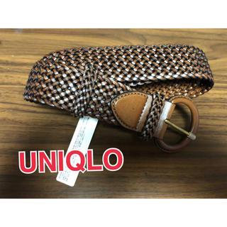ユニクロ(UNIQLO)のユニクロ レザー 革 メッシュ ベルト 茶色(ベルト)