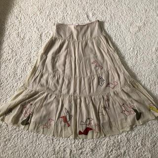 ホコモモラ(Jocomomola)のホコモモラ 小鳥刺繍柄 ロングスカート(ロングスカート)