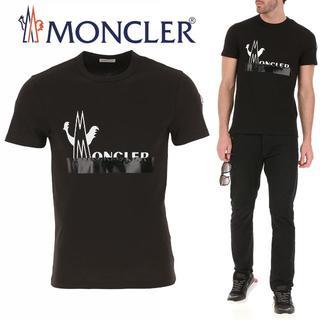 MONCLER - 73 MONCLER ブラック ロゴ クルーネック 半袖 Tシャツ size S