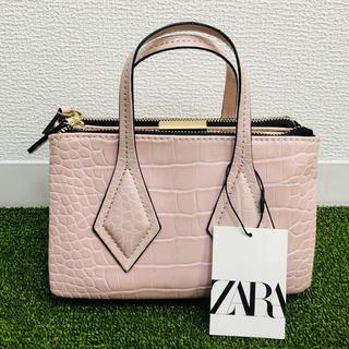 ザラ(ZARA)の新品 ZARA タグ付き ショルダーバッグ ショートバッグ ピンク クロコ(ショルダーバッグ)