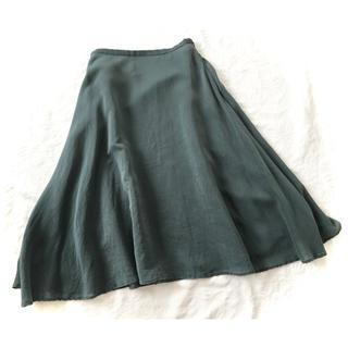 シビラ(Sybilla)のシビラ絹シルク秋色深緑グリーンふんわりフレアロングスカートM美品 (ロングスカート)