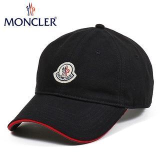 モンクレール(MONCLER)の9 MONCLER 20ss ブラック ロゴワッペン 帽子 ベースボールキャップ(キャップ)