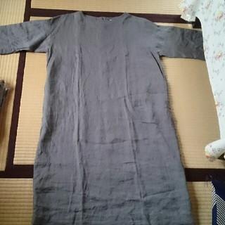 MUJI (無印良品) - 無印良品 フレンチリネン 洗いざらし 7分袖丈 ワンピース Mサイズ 麻100%