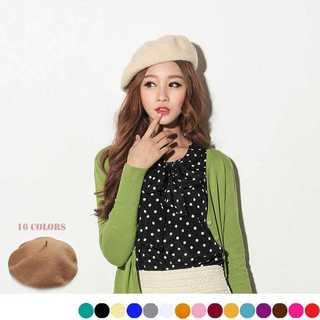 ベレー帽 ニット 帽子 レディース おしゃれ シンプル かわいい アクセント(ハンチング/ベレー帽)