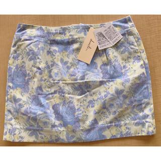 ダズリン(dazzlin)の新品!ダズリン ミニスカート タイトスカート 花柄 ブルー×イエロー Sサイズ(ミニスカート)