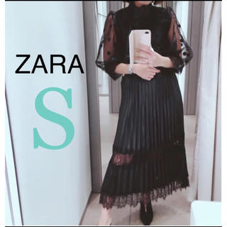ザラ(ZARA)のタグ付き★レース付きレザースカート コントラストスカート(ひざ丈スカート)