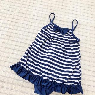 ニシマツヤ(西松屋)の西松屋 ❤︎ 女の子用 リボン付 ボーダー柄 裾フリル ワンピース風 水着(水着)