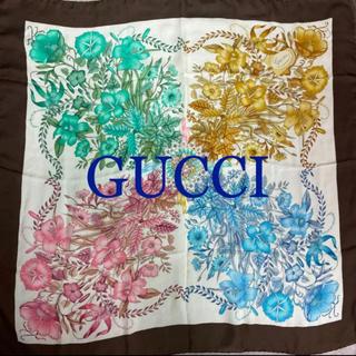 グッチ(Gucci)のグッチ 4色のお花柄 シフォン系 大判スカーフ(バンダナ/スカーフ)