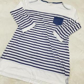 ジーユー(GU)のGU ボーダーロング丈Tシャツワンピ(Tシャツ(長袖/七分))