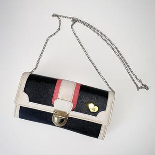 レピピアルマリオ(repipi armario)の〈新品〉repipi armario チェーン付き長財布 黒 白 ピンク(財布)