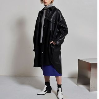 LE CIEL BLEU - 19AW 新品 Faux Leather Shirt Coat フェイクレザー