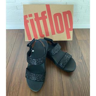 フィットフロップ(fitflop)のFitflop サンダル ラメ ブラック 新品 サイズ8(サンダル)