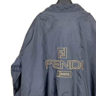 フェンディ(FENDI)のフェンディ ズッカ柄 ビッグロゴ刺繍 ナイロンジャケット 古着 オーバーサイズ(ナイロンジャケット)