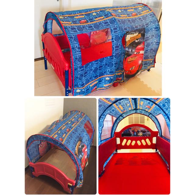 Disney(ディズニー)のディズニー カーズ 子供用 ベッド 布団&マットレス兼用 テント付き CARS キッズ/ベビー/マタニティの寝具/家具(ベビーベッド)の商品写真