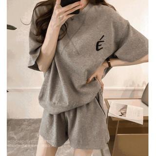 M 半袖 ルームウェア パジャマ Tシャツ パンツ セットアップ グレー 韓国(ルームウェア)