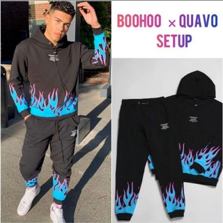 boohoo - 【M】boohoo asos QUAVOコラボ 上下セットアップ 黒ブラック