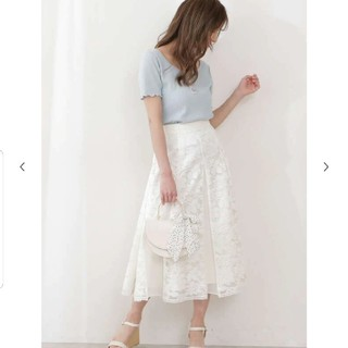 PROPORTION BODY DRESSING - 今季新作 新品 タグつき♡ レース プリーツ ミディ丈 スカート 可愛い 白
