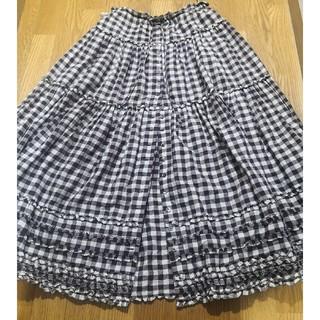 PINK HOUSE - ブロックチェック 前開きスカート