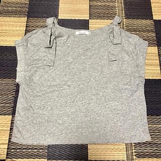 クチュールブローチ(Couture Brooch)の上品リボン付き半袖トップス【超美品】(カットソー(半袖/袖なし))