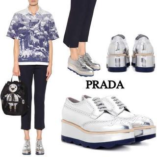 プラダ(PRADA)の多少値下げ交渉可❗️ウイングチップ 厚底 レースアップ オックスフォードシューズ(ローファー/革靴)