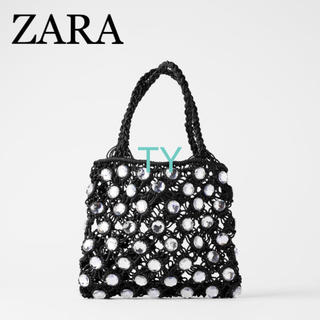 ZARA - 完売品 ザラ ラインストーン ミニバスケット バッグ 編み込み ビジュー 黒