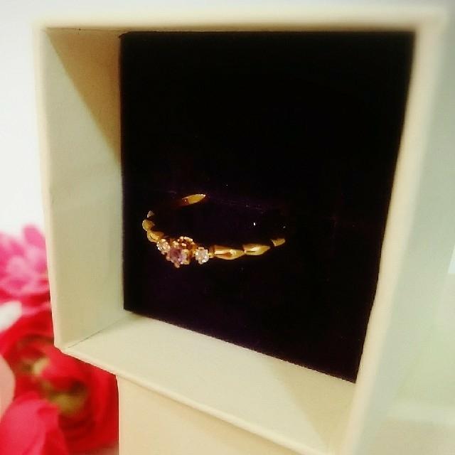 agete(アガット)のK18♡アガット クラシック アメジスト ダイヤ リング レディースのアクセサリー(リング(指輪))の商品写真
