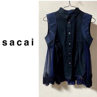 sacai - sacai 異素材切り替えノースリーブ ブラウス ネイビー