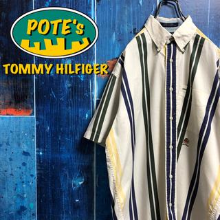 TOMMY HILFIGER - 【トミーヒルフィガー】オールド刺繍ロゴ半袖マルチダブルストライプシャツ 90s