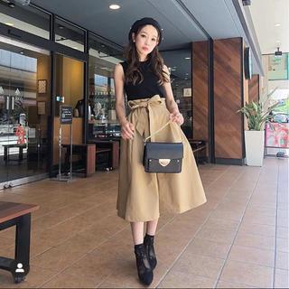 rienda - カラーミディフレアスカート ブラック
