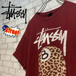 STUSSY - 【人気エイトボール♪】STUSSY ステューシー/Tシャツ ヒョウ柄 デカロゴ