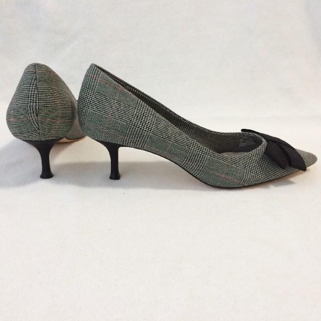 ZARA(ザラ)のZARA 37 グレンチェック柄パンプス リボン グレー レディースの靴/シューズ(ハイヒール/パンプス)の商品写真