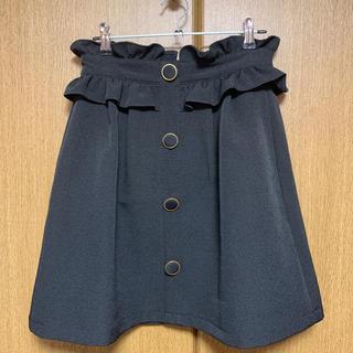 アーベーセーアンフェイス(abc une face)のPARK East ペプラムスカート ブラック(ひざ丈スカート)