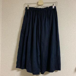ムジルシリョウヒン(MUJI (無印良品))の無印良品 リネン100%ネイビースカートL(ロングスカート)