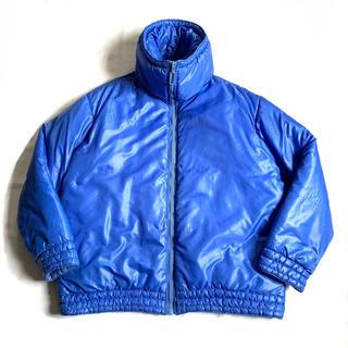 希少70s80sデザインダウンジャケット ハイネックブルゾン 青 ビンテージ古着(ブルゾン)