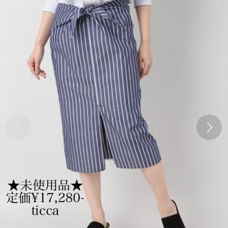 未使用★定価¥17,280-★ticca/ティッカ スカート ストライプ 36(ひざ丈スカート)